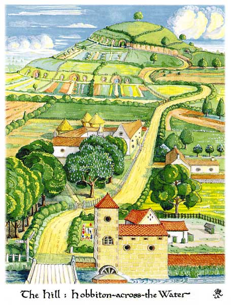 Tolkein's own painting of Hobbiton