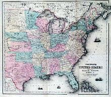 1861 map of the United States